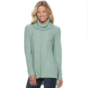 {Sonoma} Cable-knit Cowl Sweater in Mint G…